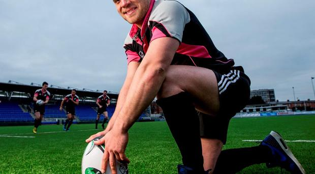 Ian Madigan at yesterday's launch of the inaugural Dublin 7s Festival. Photo: James Crombie/INPHO