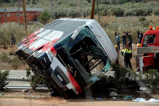 An Irish student injured in a horrific bus crash in Spain in which 13 people died is being treated for a suspected broken arm. REUTERS/Albert Gea