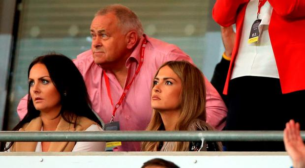 The girlfriend of Wales' Gareth Bale Emma Rhys-Jones (centre right) in the stands.