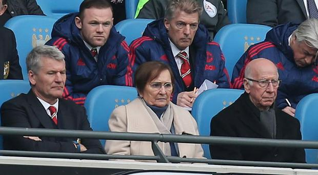 Wayne Rooney watched the derby from the stands
