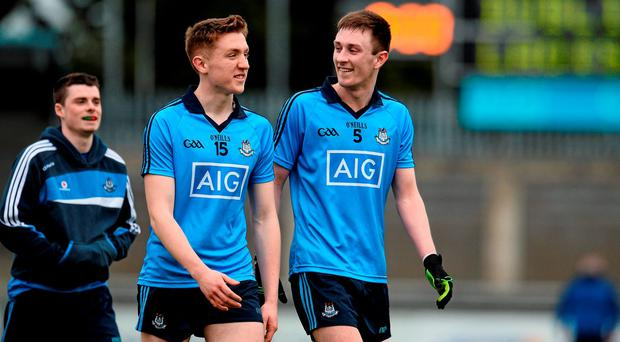 Aaron Byrne and Glenn O'Reilly, Dublin, celebrate after beating Laois in the semi-final