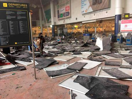 Picture taken with permission from the Facebook site of Jef Versele showing the aftermath of this morning's explosions at Brussels airport.