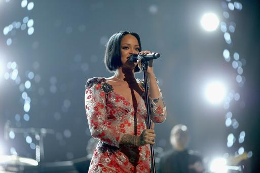 Rihanna was shocked by a fan's vocal abilities at her gig in Ohio. Photo by Christopher Polk/Getty Images for NARAS