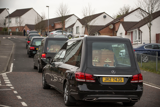 The remains of five family members are brought home to Derry Credit: Mark Condren