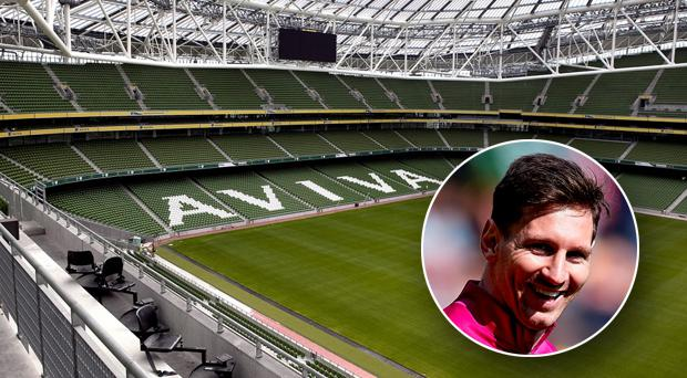 Lionel Messi could feature for Barcelona at the Aviva Stadium in July