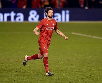 LIVERPOOL, ENGLAND - JANUARY 26: Joe Allen of Liverpool celebrates after scoring the winning penalty during the Capital One Cup Semi Final: Second Leg between Liverpool and Stoke City at Anfield on January 26, 2016 in Liverpool, England. (Photo by Andrew Powell/Liverpool FC via Getty Images)