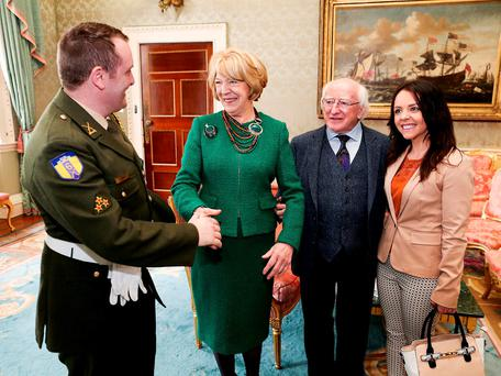 President Michael D Higgins and his wife Sabina, with Paula Leahy (great great granddaughter of James Connolly) and her husband David Leahy. Pic: Maxwell Photography