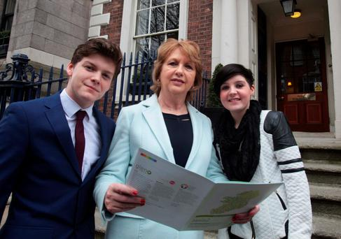 Former president Mary McAleese with Daniel Zagorski and Ciara Sheehan at the launch of the LGBTI report. Photo: RollingNews.ie