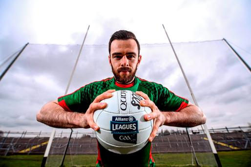 Kevin McLoughlin of Mayo in Dr Hyde Park yesterday ahead of Sunday's Allianz NFL clash with Roscommon (SPORTSFILE)