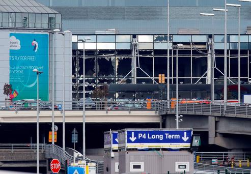 Blown out windows are seen at Zaventem Airport in Brussels after coordinated bomb attacks on the airport and the Metro system brought terror to the Belgian capital.. Photo credit: Gareth Fuller/PA Wire