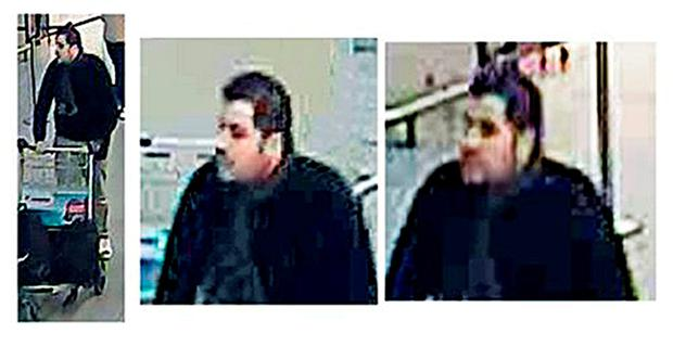 Undated handout CCTV stills issued by the Belgian Federal Police of one of three men believed to be connected with the Brussels attacks. Federal Police/PA Wire