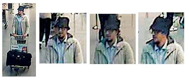 Undated handout CCTV stills issued by the Belgian Federal Police of one of three men thought to be connected with the Brussels attacks, who is believed to be on the run. Federal Police/PA Wire