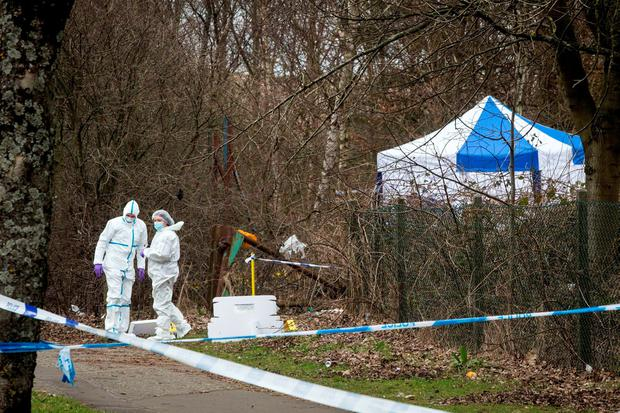 Police forensic officers at the site where the body of Paige Doherty was found Credit: Danny Lawson/PA Wire