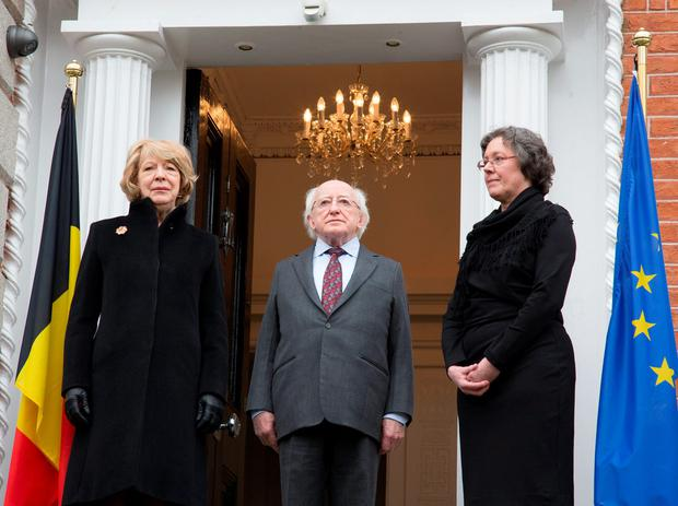 Agnes Scheers, Deputy Head of Mission, Belgium Embassy pictured with President Michael D Higgins and his wife Sabina as they arrived to sign the book of condolances at Ballsbridge today. Picture: Colin O'Riordan