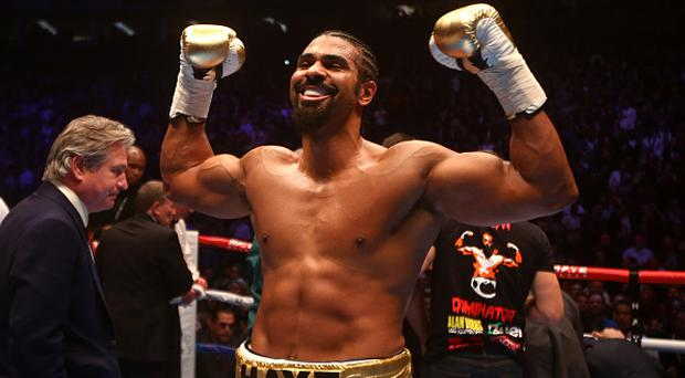 LONDON, ENGLAND - JANUARY 16: David Haye of England celebrates after beating Mark De Mori of Australia during their International heavyweight contest at The O2 Arena on January 16, 2016 in London, England. (Photo by Charlie Crowhurst/Getty Images)