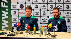 Stephen Gleeson, left, and Alan Judge during a press conference for Ireland this week