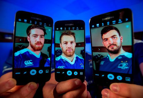 Leinster players Dominic Ryan, Sean O'Brien and Mick Kearney at the launch of the Samsung 'Shoot Like A Pro' initiative (SPORTSFILE)