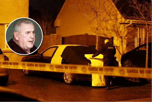 A garda at the scene of the shooting in The Mill, Ratoath, Co Meath. Inset: Noel 'Kingsize' Duggan, who was shot dead
