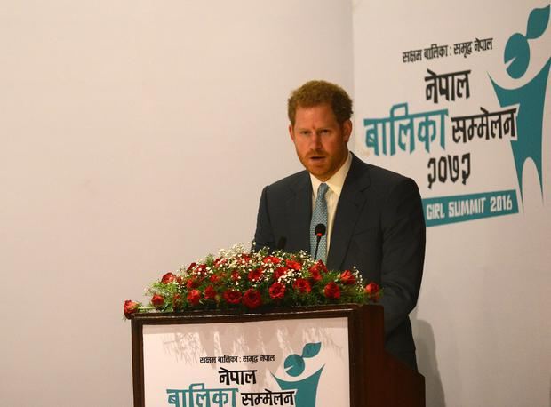 Britain's Prince Harry speaks during the start of the Nepal Girls Summit 2016 in Kathmandu on March 23, 2016. Photo: PRAKASH MATHEMA/AFP/Getty Images)