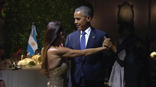 Barack Obama dances the tango on a state visit to Argentina.