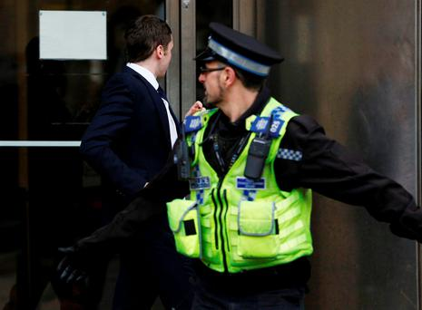 Former Sunderland soccer player Adam Johnson arrives for sentencing at Bradford Crown Court in Bradford, Britain March 24, 2016