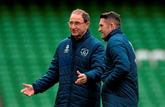 Ireland manager Martin O'Neill and Robbie Keane