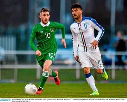 Jack Byrne in action against Gaetano Monachello of Italy