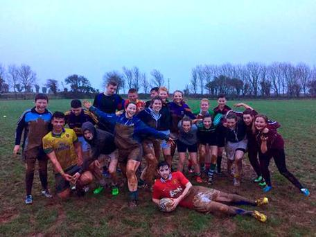 First-time rugby players from Ramsgrange Community College in New Ross enjoy a training seasion with Nick Murphy, the CCRO for New Ross Rugby Club