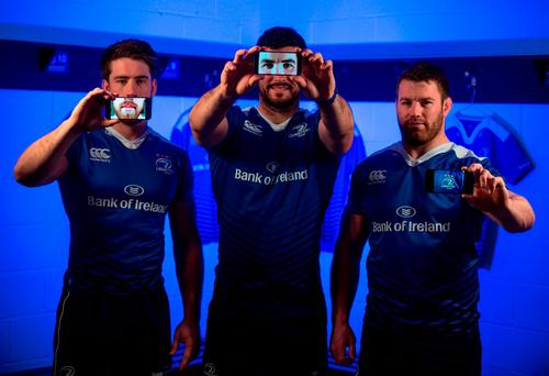 Dominic Ryan, left, Mick Kearney and Sean O'Brienat the launch of the Samsung 'Shoot Like A Pro' initiative. Photo: Stephen McCarthy / Sportsfile