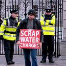 A water protester at the Dáil. Photo: Tom Burke