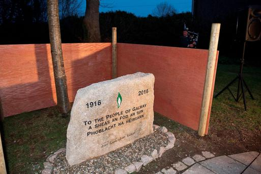 The 1916 plaque in Galway, which was boarded up by the council. Photo: Andrew Downes