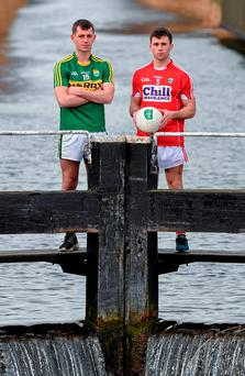 Cork's Stephen Cronin, rignt, with Jack Savage of Kerry at Dublin's Grand Canal ahead of the EirGrid Munster U21 FC final. Photo: Stephen McCarthy/Sportsfile