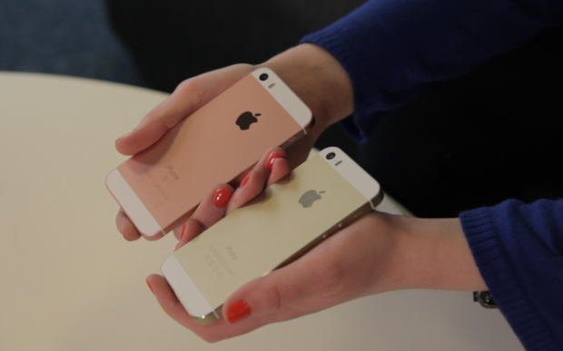 The rose gold iPhone SE and a gold iPhone 5s Credit: edward emsley/telegraph