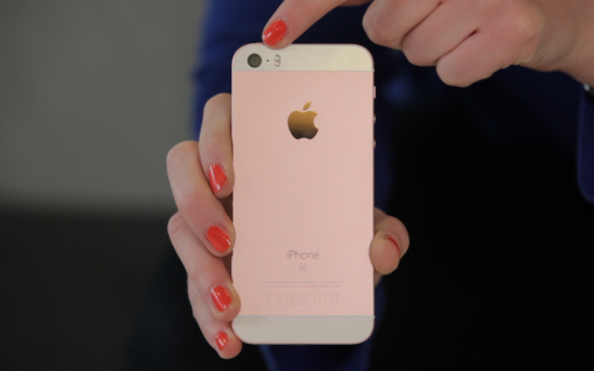 The iPhone SE is the third iPhone to come in rose gold Credit: Edward Emsley/Telegraph