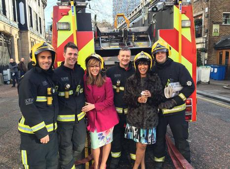 A fire ripped though the ITV buildings this morning Photo via Twitter: @BenShephard