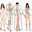 Irish illustrator Ellen McCann's work of the Kardashians at the YEEZY fashion show. Picture: Nelle Illustrations