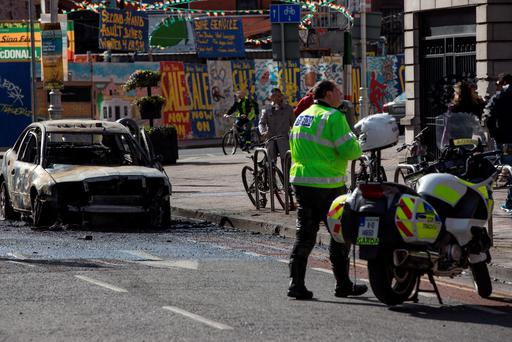 A car that went on fire on Parnell Street, Dublin. Pic:Mark Condren