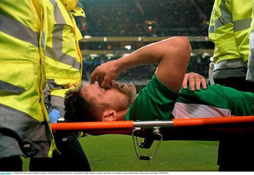 Kevin Doyle is stretchered off the field with an injury. 3 International Friendly, Republic of Ireland v Switzerland. Aviva Stadium, Lansdowne Road, Dublin. Picture credit: David Maher / SPORTSFILE