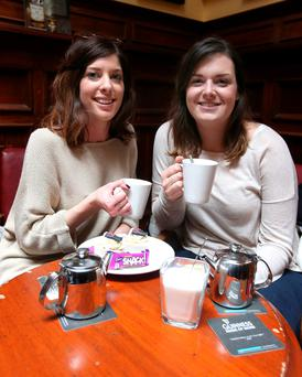 Ciara McEntee, from Dundrum, and friend Esther Canham, from London, enjoy tea in the Palace. Photo: Damien Eagers
