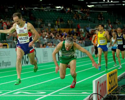 Ireland's Joe Gough falls to the ground alongside David Roy Wilcox in the Men's 800 Metres Masters final at the IAAF World Indoor Championships in Oregon. Photo: Ian Walton/Getty Images