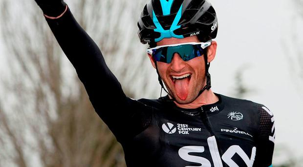 Sky's Dutch rider Wouter Poels celebrates as he crosses the finish line to win Stage 5 of the Volta a Catalunya, one of two big wins for the team yesterday. Photo: Josep Lago/AFP/Getty Images