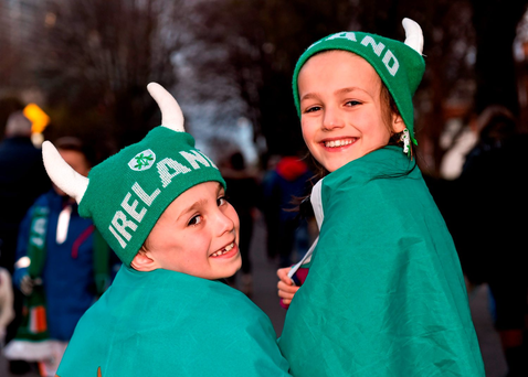 Oisín (7) and Muirinn (9) Ward, from Clondalkin, Dublin, ahead of the match at the Aviva Stadium. Photo: Cody Glenn/Sportsfile
