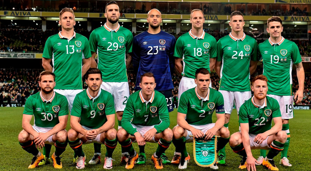 25 March 2016; The Republic of Ireland team, back row, from left to right, Kevin Doyle, Shane Duffy, Darren Randolph, David Meyler, Ciaran Clark and Robbie Brady. Front row, from left to right, Alan Judge, Shane Long, Aidan McGeady, Seamus Coleman and Stephen Quinn. 3 International Friendly, Republic of Ireland v Switzerland. Aviva Stadium, Lansdowne Road, Dublin. Picture credit: David Maher / SPORTSFILE
