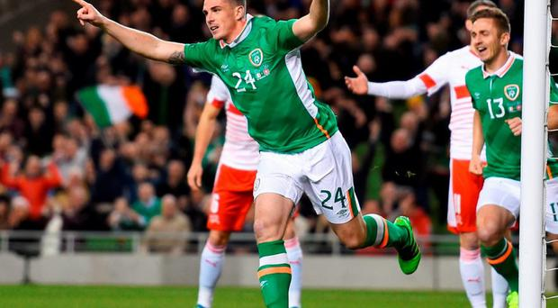 Ciaran Clark celebrates after scoring the only goal of the game. Photo: Shaun Botterill/Getty Images