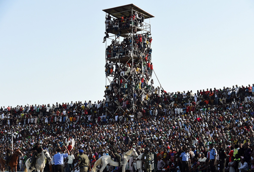 Supporters attend the African Cup of Nations qualification match between Egypt and Nigeria, on March 25, 2016, in Kaduna. / AFP / PIUS UTOMI EKPEI (Photo credit should read PIUS UTOMI EKPEI/AFP/Getty Images)