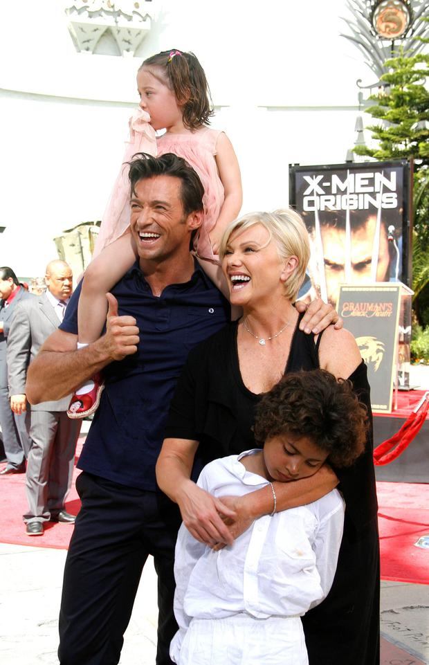 Actor Hugh Jackman, wife Deborra Lee Furness, children Oscar and Ava attend the handprint and footprint ceremony honoring Hugh Jackman at the Grauman's Chinese Theatre on April 21, 2009 in Hollywood, California. (Photo by Jeffrey Mayer/WireImage)