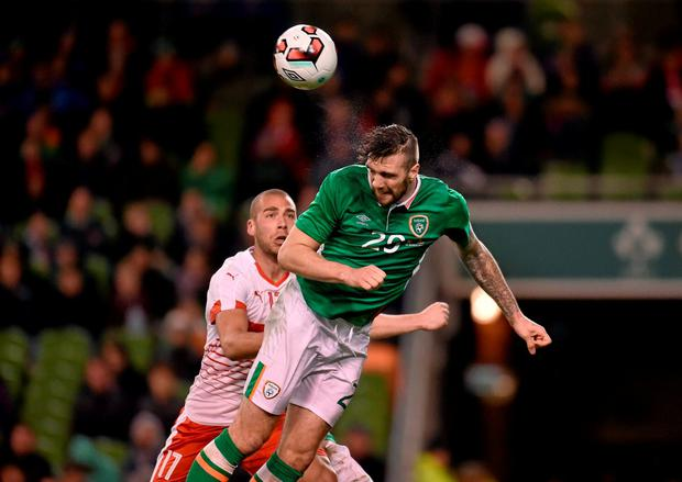 Shane Duffy in action for Ireland against Switzerland