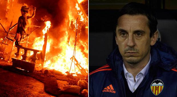 An effigy of Gary Neville was burned in Valencia over the weekend