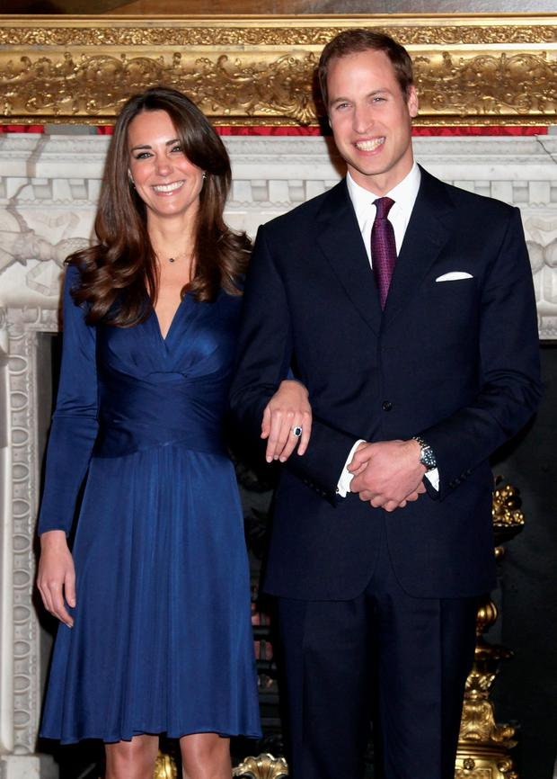 Prince William and Kate Middleton pose for photographs in the State Apartments of St James Palace on November 16, 2010.