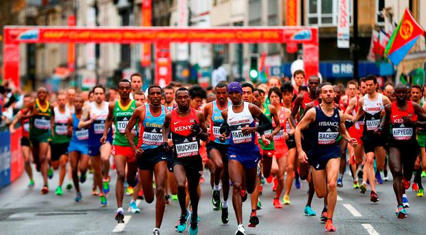 A general view of the start of the Men's Half Marathon during the IAAF/Cardiff University World Half Marathon Championships on March 26, 2016 in Cardiff, Wales. (Photo by Jordan Mansfield/Getty Images for IAAF)